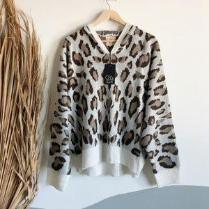 NWT Chaser Cheetah Print Dolman Pullover Hoodie